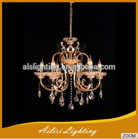 Contemporary Antique 6 Lights K9 Crystal Chandelier Lights with Scallop Drops