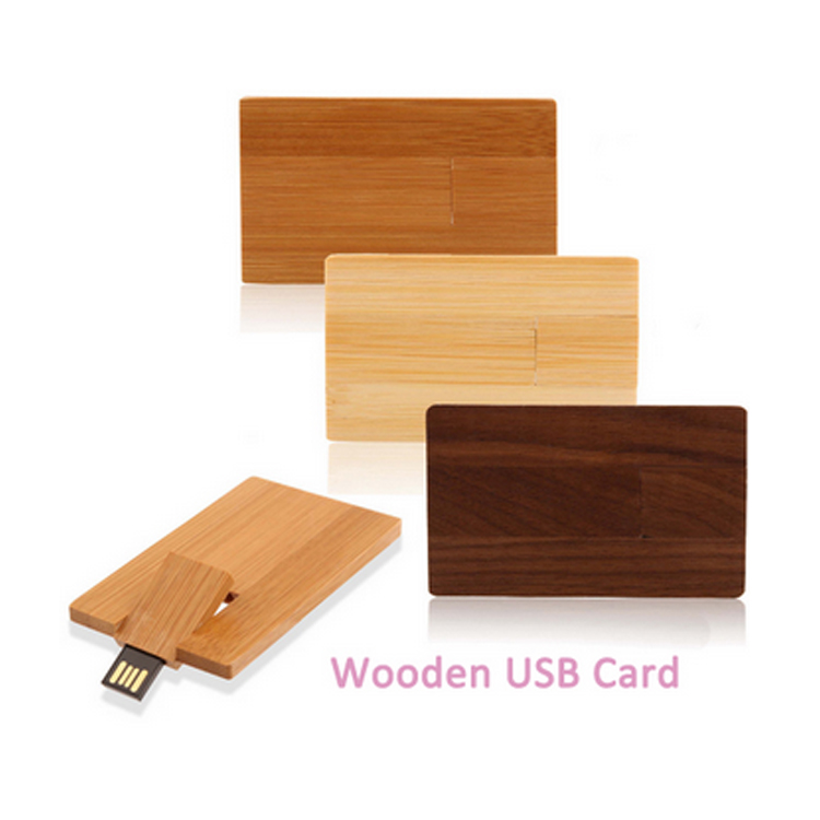 Natural Wooden Card Type USB Flash Drive 4gb 8gb 16gb 32gb USB Card Protable USB Stick