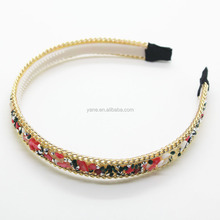 Fancy colorful plastic crystal stone hairband/headband for women girls