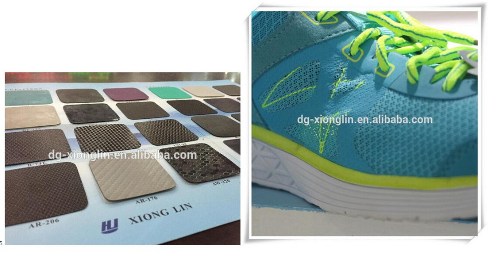 dongguan TPU seamless film back glue or hot melt no sewing material film with heat press for moulding running shoes