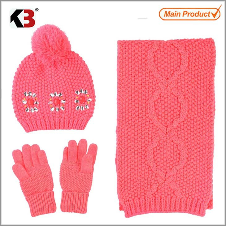 2015 Fashion girl's pink knitted hat with flower and gloves scarf sets/ winter warmer knitted set