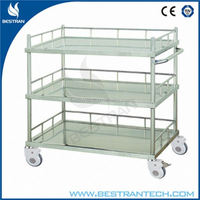 BT-SIT008 Luxury 3 layer surgery instrument hospital medication trolley/cart stainless steel
