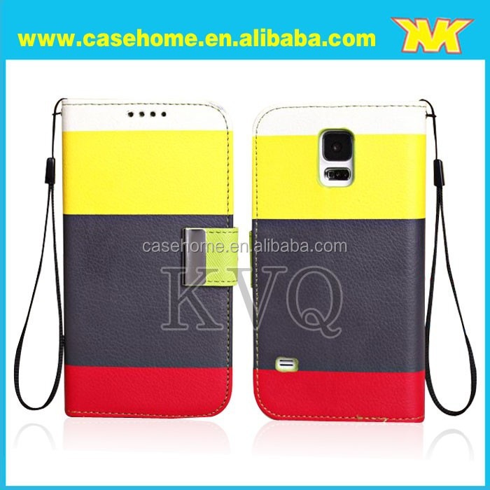 Rainbow grain leather case for galaxys5, beautiful color case with hung rope and maganet ear for galaxys5