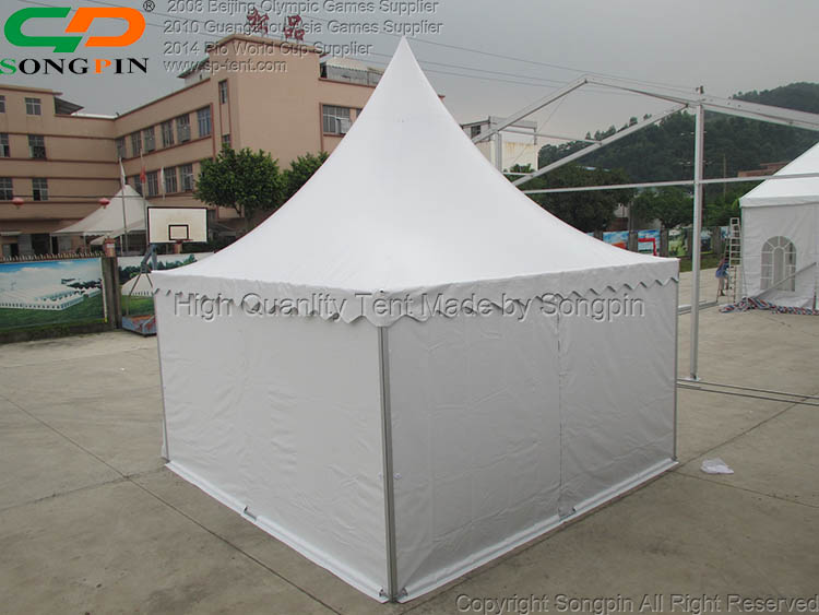 5x5m wind resistant aluminum pagoda tent with waterproof PVC cover
