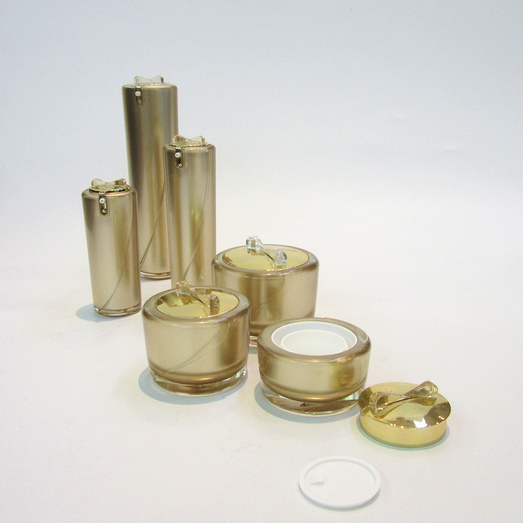 Promotional sell cosmetics bottle luxury acrylic packaging plastic containers empty luxury cream jar 50 ml30ml15ml