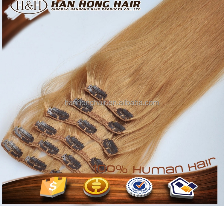 Top quality clip extension hiar pieces 30 Inch clip in human hair extensions