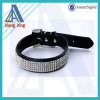Bling bling PU leather dog collar with rhinestones