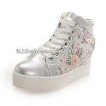 Stylish Floral Women High Top Hidden Wedge Platform Lace Up Sneakers