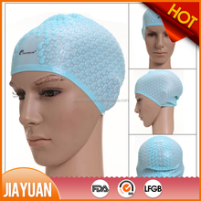 Custom logo silicone swimming cap for long hair