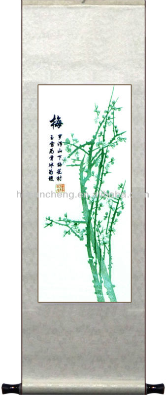 Luxury gift- bamboo painting - Silk scroll traditional arts-hanging decor - 100% hand silk embroidered-made in China