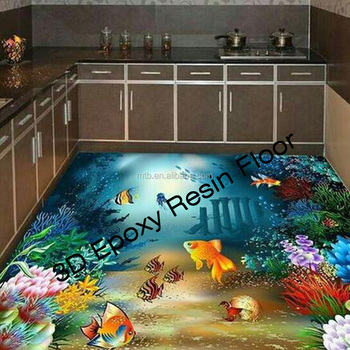 Scratch Resistant 3D Epoxy Resin Floor for Kitchen