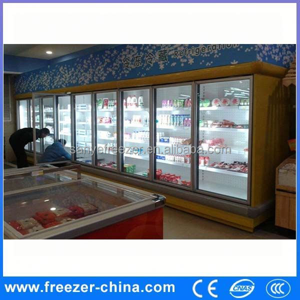 Glass door 1400l double hinge door beverage refrigerator/commercial refrigerator