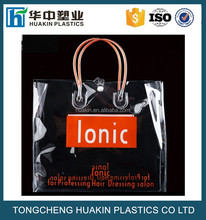 PVC soft tube handle bags PVC tote bags with logo printing gift pvc carrier bags