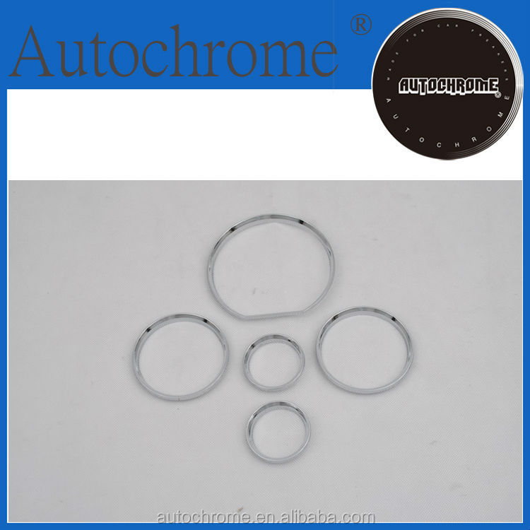 Decorative car accessory accent, chrome dash board gauge ring set for Mercedes Benz W140