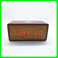 Creative modern high -tech wireless mobile phone charger with Wooden LED alarm clock