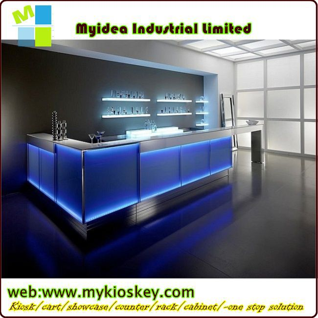 LED bar counter with modern bar counter designs for restaurants made of stone for sale.