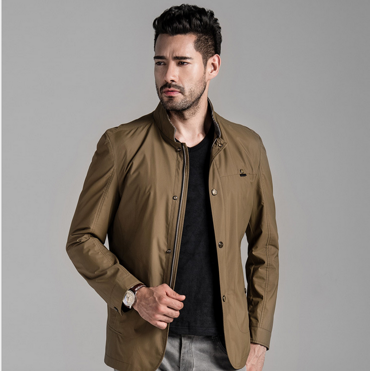 Comfortable polyester men jacket pure color business style men jacket