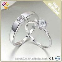 2015 Fashion Wedding Couple Silver Jewelry Rings Wholesale,Rhodium Plated Gemstone Silver Wedding Couple Rings
