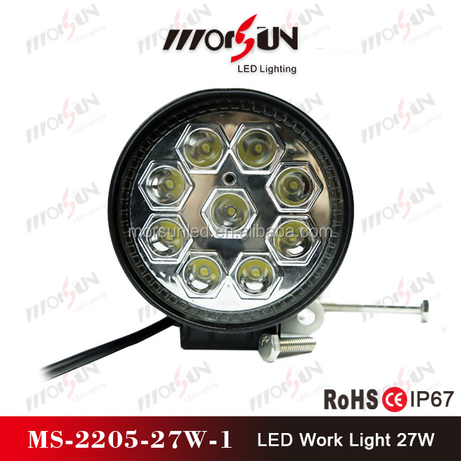 Morsun 2016 new auto part 27w waterproof led work lamp for jeep, tractor,truck, 4'' round 27w led working lamp