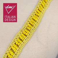 Shiny yellow bulk beads wholesale lace trim