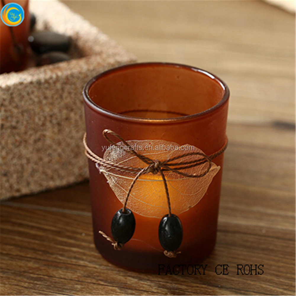 set of 2 candle holder wholesale amber candle jar
