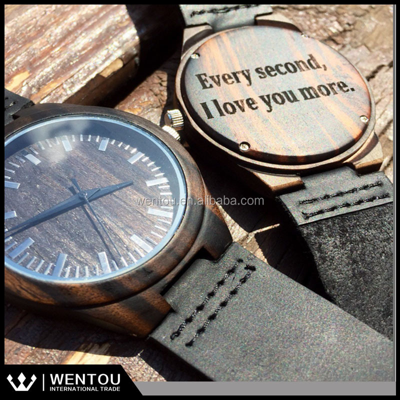 Personalized Mens Dark Ebony Wood Watch With Custom Engraving