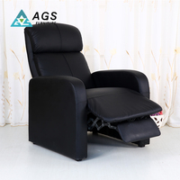 Black Soft Genuine Modern Leather Recliner