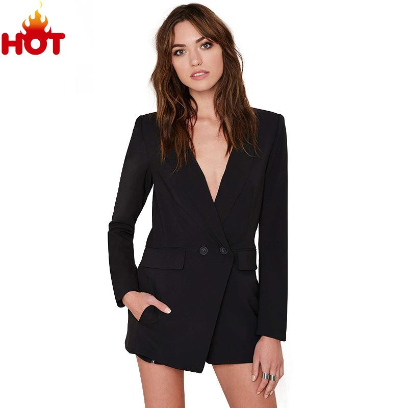 2e727f8624d Buy 2015 Autumn Women Jumpsuit Long Sleeve Rompers Womens Overalls Sexy  Playsuit V neck OL Combinaison Femme Black Mono Spring Suit in Cheap Price  on ...