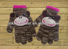 cute cotton knitted gloves with smiling face