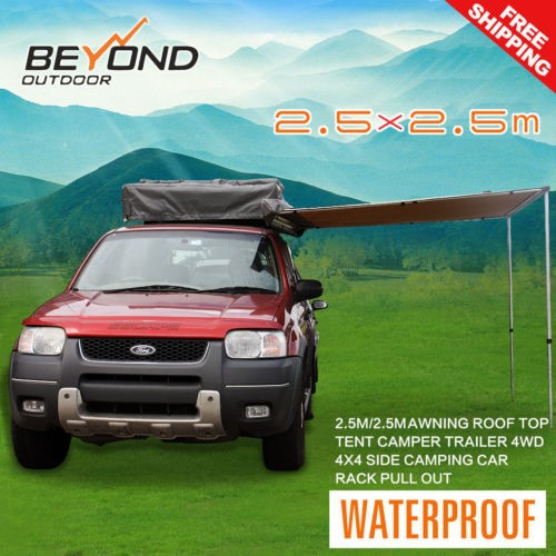 2.5X2.5M SIDE AWNING ROOF TOP TENT CAMPER TRAILER 4WD 4X4 CAMPING CAR RACK Pull