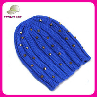 wholesale plain bule acrylic custom mens beanie hat