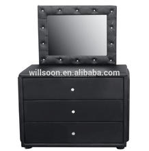 WSS923 Simple Design Black Dresser And Mirror For Sale