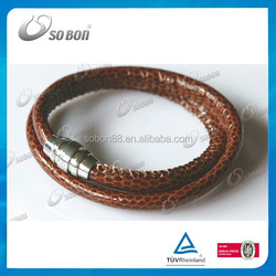 round genuine snake fashion leather bracelets stainless steel