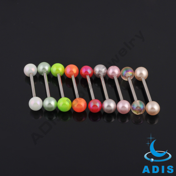 Wholesale Factory jewelry Plated Acrylic ball straight barbell piercing tongue