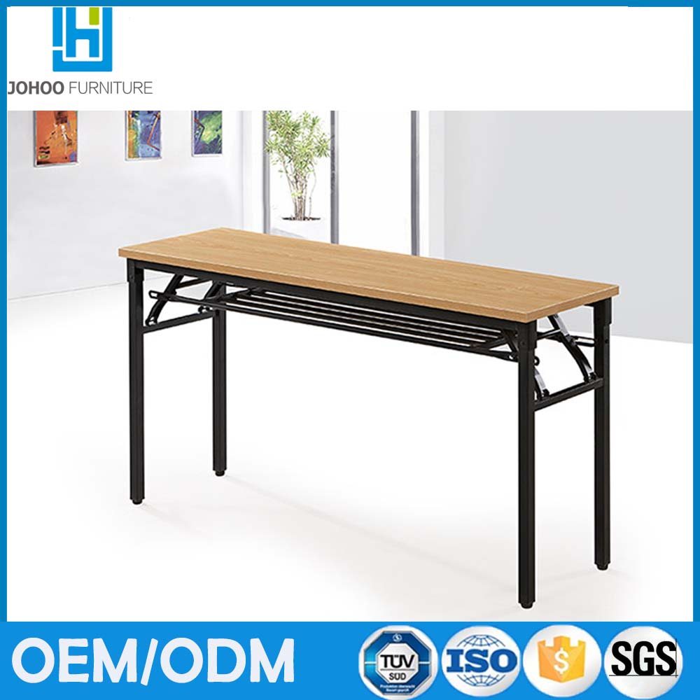 Foshan factory wholesale simple desgin melamine desktop metal frame folding computer desk