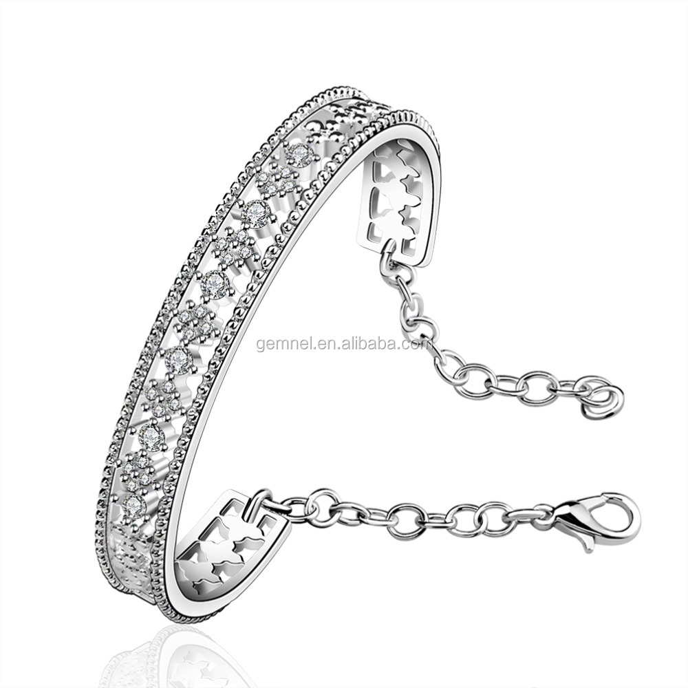 12PCS low MOQ bangle bracelet, cubic zirconia cuff, cheap women bangle