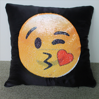 2017 hot sale home decoration sequin fabric emoji cushion pillow