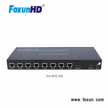SX-SPE108 1080P HDMI 1X8 HDMI to UPT with RJ45 Repeater output Splitter Extender Via 50m Cat5/6/7