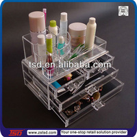 TSD-A652 acrylic makeup storage organizer/ plexiglass makeup organizer/wholesale acrylic makeup organizer with drawers