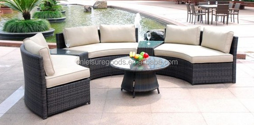 Uplion RS9069 Rattan half moon sofa cheap and simple sofa set c shaped sofa set