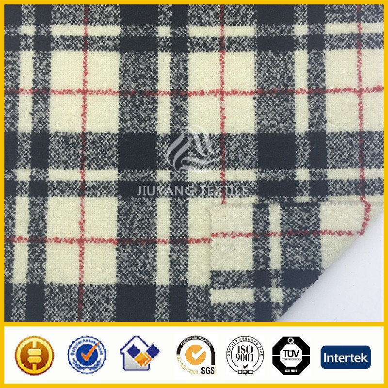 wool acrylic nylon blend check & plaid wool fabric for garments