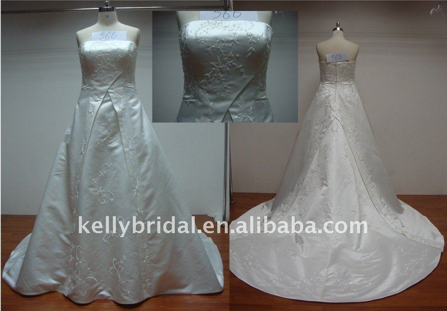 Satin,Decolated with Applique,For A-line Simple Wedding Gown