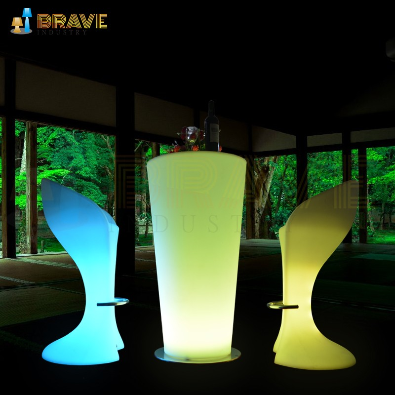 Portable remote control multi color RGB LED illuminated lighted bar table