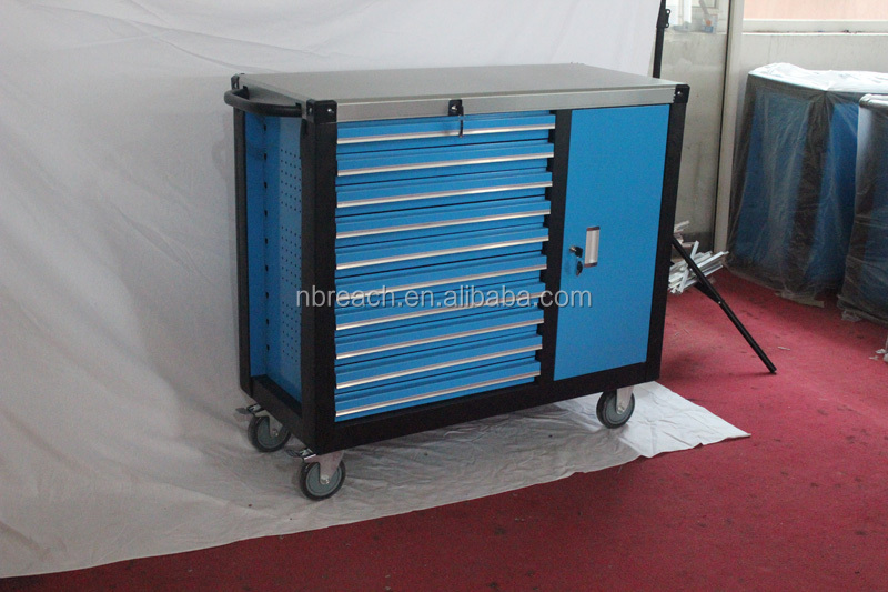 4 wheels top signle door drawer type metal tool cabinet 2015