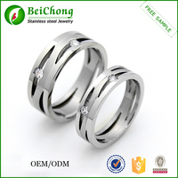 Elegant design stainless steel name carved rings