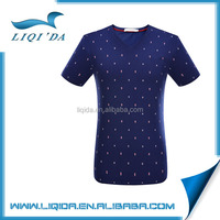 2016 wholesale custom navy full hand designer v neck t shirts for man