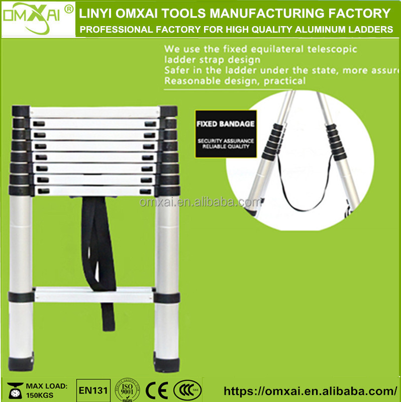 sgs/en 131 factory hot sell equilateral aluminum telescopic ladder lowes price