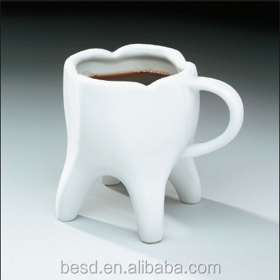 2017 new arrived 3d tooth shaped plain white custom ceramic fancy coffee cup