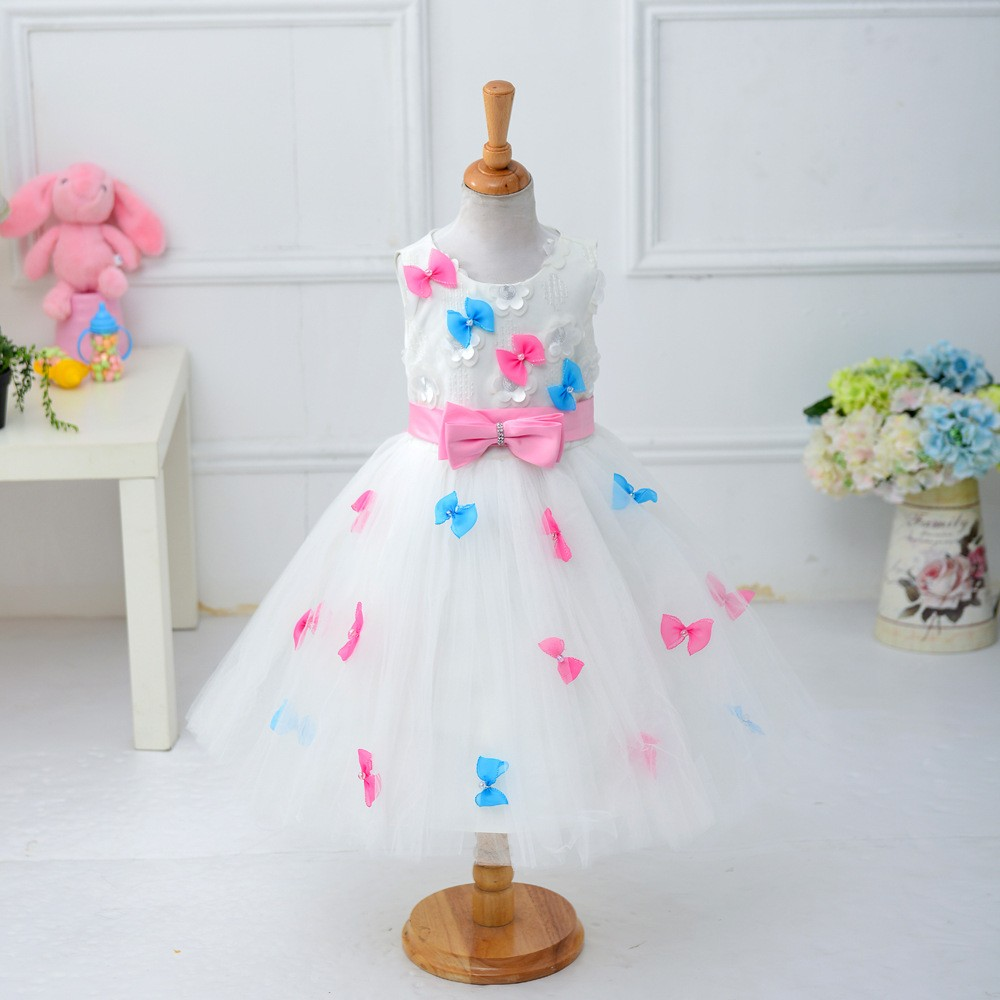 Readymade Wholesale Baby Girl Lace Trailing Wedding Party Dress Kids Clothes