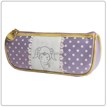 lovely cartoon print satin pencil case